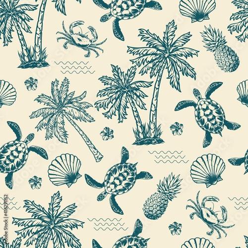 Tela Vintage monochrome tropical seamless pattern