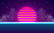 Sunset Perspective Grid Neon Purple Cyan Gradient Glow Color. Abstract Retro 80s Vintage Style.