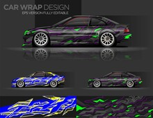 Car Livery Graphic Vector With Abstract Racing Shape Design