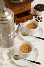 Neapolitan Coffee, Neapolitan Coffee Machine And Coffee Grinder, Naples, Campania
