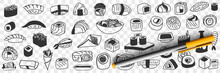 Japanese Traditional Foods Doodle Set. Collection Of Hand Drawn Asian Japanese Sushi Rolls Fish Soy Sauce Gunkan Shrimp Rice Noodles Served In Restaurants Isolated On Transparent Background