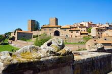 Etrsuscan Sarcophagus And View Of Tuscania, Tuscania, Viterbo, Lazio