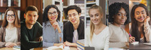 Diverse Students Portraits Set In A Row, Collage