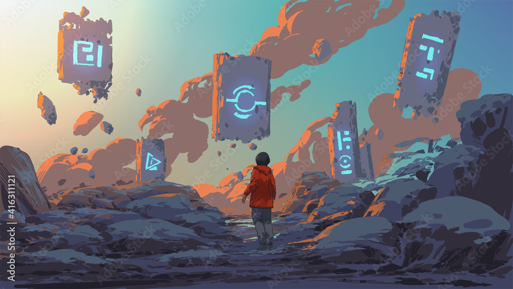 Fototapeta boy standing and looking at the magic rocks floating in the sky, vector illustration