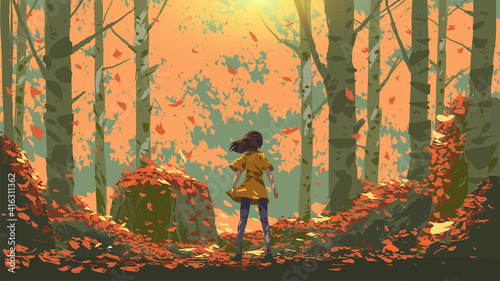 young girl standing in the autumn forest, vector illustration