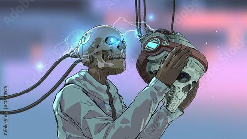 skull man wearing the futuristic virtual reality headset, vector illustration
