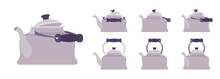 Tea Retro Kettle Set, Teapot In Classic Grey Design. Household Appliance With Lid, Spout, Handle For Boiling Water. Vector Flat Style Cartoon Illustration Isolated On White Background, Different View