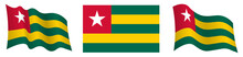Flag Of Togolese Republic In Static Position And In Motion, Fluttering In Wind In Exact Colors And Sizes, On White Background