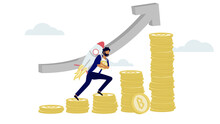 A Man Carry Rocket While Climbing The Step Of Cryptocurrency Bitcoin Tower In Soaring Upside Growth Price. Minima Investments For Bitcoin And Blockchain Technology
