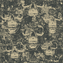 Abstract Seamless Pattern With Hand-drawn Skulls In Grunge Style. Dark Vector Background With Ominous Human Skulls. Wallpaper, Wrapping Paper, Fabric, Graphic Print For Clothes Or Halloween Party
