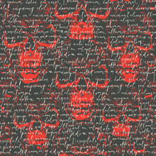 Vector Seamless Pattern With Handwritten Text Lorem Ipsum On A Black And Red Background With Sinister Human Skulls. Suitable For Wallpaper, Wrapping Paper, Textiles, Fabric, Backdrop