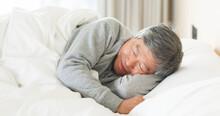 Asian Senior Man Sleep Well