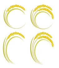 シンプルな稲のイラストセット ベクターあり