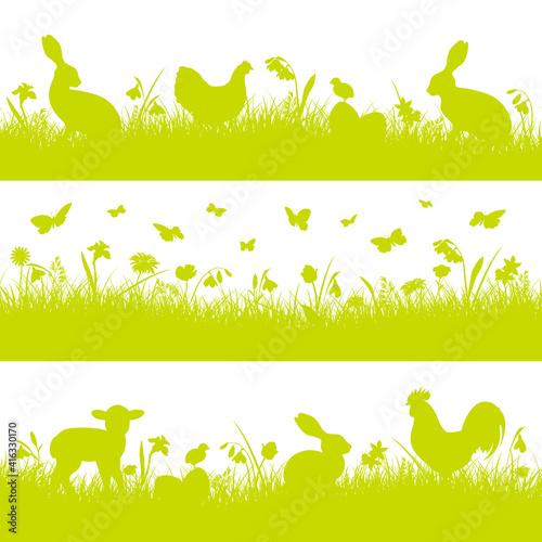 Fotografiet 3 Grüne Osterbanner Verschiedene Tiere Grün