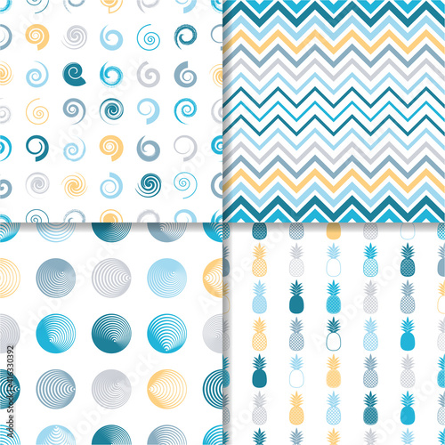 Various vector seamless colourful vintage pattern template collection #416330392