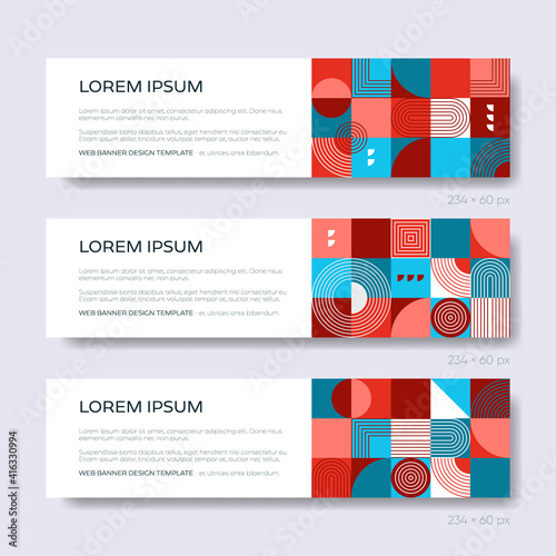 Retro abstract geometric design vector web banner template #416330994