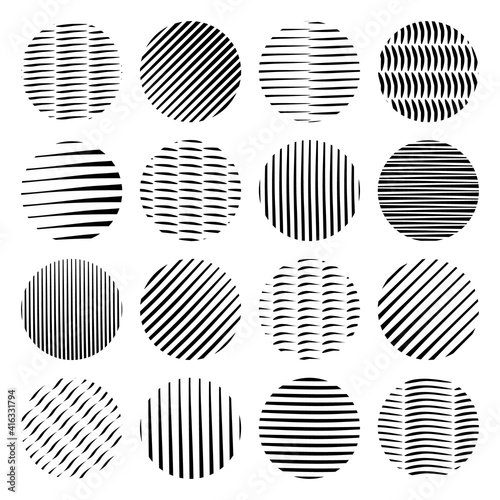 Black vector hand drawn doodle circle shapes isolated #416331794