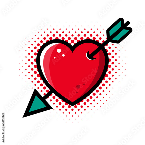 Abstract vector red heart pierced by arrow illustration #416331942