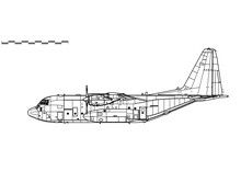 Lockheed C-130 Hercules. Vector Drawing Of Military Transport Aircraft. Side View. Image For Illustration And Infographics.
