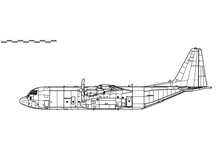 Lockheed Martin C-130J-30 Super Hercules. Vector Drawing Of Military Transport Aircraft. Side View. Image For Illustration And Infographics.