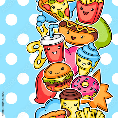Seamless pattern with cute kawaii fast food meal. © incomible