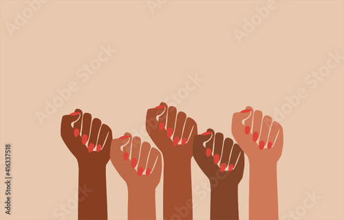 Canvas Print black fist people, brown power, black history month, female pride, blm lives mat