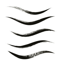 Makeup Strokes, Set Of Mascara Smudge, Makeup Eye Liner Swatches, Beauty And Cosmetic Black Brush Smudges Vector Background. Smear Make Up Lines Collection, Liquid Make Up Texture Isolated On White.
