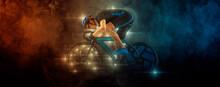 Man Racing Cyclist On Dark Background