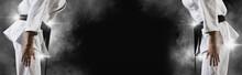 Martial Arts Masters On Dark Smoke Background