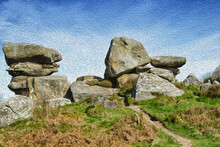 Natural Unworldly Ancient Rock Formations, Brimham Rocks, Nidderdale, North Yorkshire, England, UK. (digital Watercolour Effect).