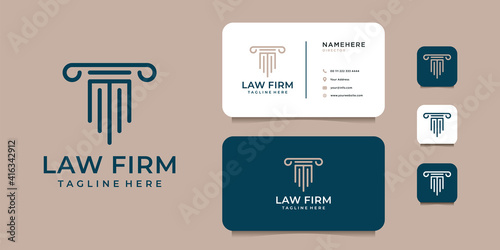 Photographie Law firm justice logo design with business card template inspiration