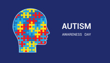 Autism Awareness Day. Head-shaped Puzzles. Blue Background.