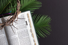 Palm Fronds, Open Bible And Crown Of Thorns On Black Background