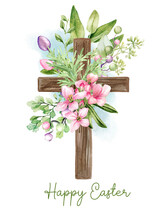 Easter Christian Cross With Floral Elements, Easter Decoration