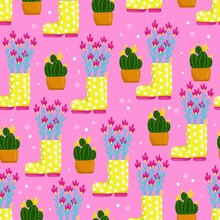 Flowers; Spring; Cactus; Hyacinthus; Color; Yellow; Pot; Home; Indoor; Field; Pink; Summer; Beautiful; Petals; Thorns; Green; Pattern; Seamless; Print; Cute; Baby; Wrapping; Wallpaper; Fabric; Textile