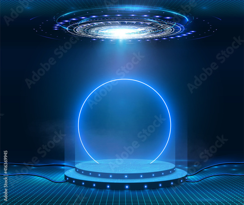 Fantastic modern futuristic neon blue circle, portal in smoke. Stage for product light platform. Circle vector HUD, GUI, UI interface screen design. Magic circle teleport podium. Sci-fi digital hi-tec