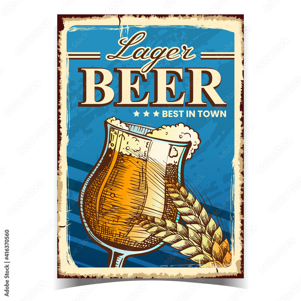 Fototapeta Lager Beer Creative Advertising Banner Vector. Beer Alcoholic Drink Glass Cup And Wheat Spike On Promotional Poster. Foamy Refreshment Beverage Template Hand Drawn Concept Illustration