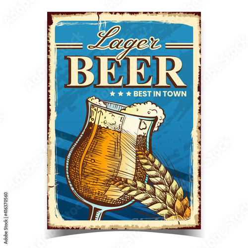 Fototapeta Lager Beer Creative Advertising Banner Vector. Beer Alcoholic Drink Glass Cup And Wheat Spike On Promotional Poster. Foamy Refreshment Beverage Template Hand Drawn Concept Illustration obraz