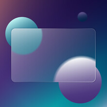 Abstract Multicolor Background With A Plate For Text. Transparent Frame In Trendy Style Glassmorphism Or Frosted Glass. For Sites, Applications, Wallpapers And Internet Projects. Vector Illustration