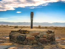 Death Valley National Park, United States - June 24, 2007: Lonely Old Stone Well In The Desert Of California Near Rhyolite Ghost Town.
