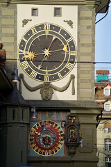 Medieval clock tower called Zytglogge (Swiss German) at the old town of Bern, capital of Switzerland. Photo taken February 24th, 2021, Bern, Switzerland.