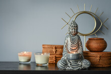 Traditional Balinese Woven Rattan Boxes, Mirror And Buddha