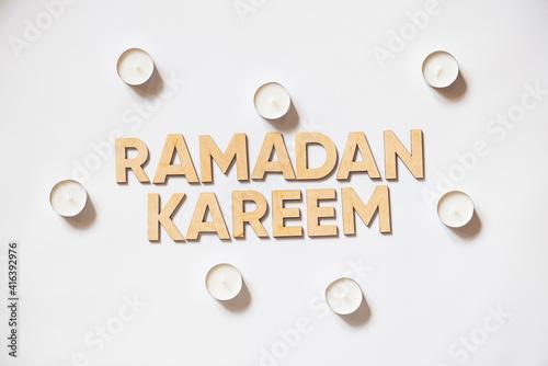 Fotografia Ramadan. Wooden letters on white background.