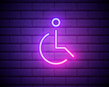 Badge Of A Disabled Person Icon. Elements Of Web In Neon Style Icons. Simple Icon For Websites, Web Design, Mobile App, Info Graphics . Isolated On Brick Wall