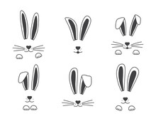 Easter Vector Bunny Hand Drawn, Face Of Rabbits. Black And White Ears And Muzzle With Whiskers, Paws. Animal Illustration