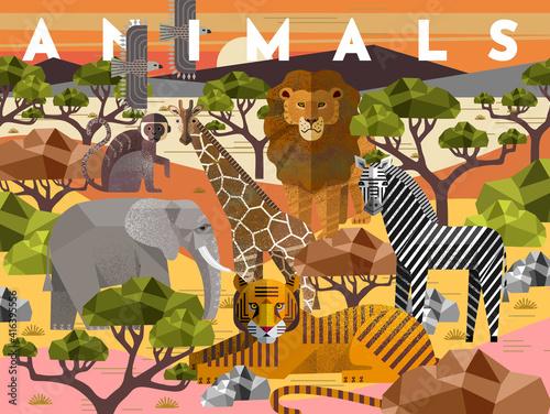 Fototapeta premium Animals. Vector flat illustrations of giraffe, elephant, monkey, tiger, lion, zebra, eagle, tree, savanna. African flora and fauna drawings for poster or background