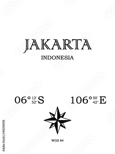 Jakarta, Indonesia - inscription with the name of the city, country and the geographical coordinates of the city Wallpaper Mural