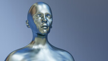 Metal Head Robot Stainless Steel Human Cybernetic 3D Illustration