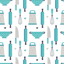 Cute Utensil Seamless Pattern Isolated On White