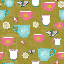 Vector Dark Gold Garden Tea Party Tea Cups With Butterflies, Doilies, And Birdcages. Perfect For Party Decorations, Stationary, Scrapbooking, And Fabric.